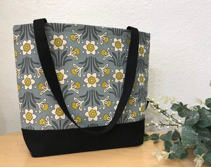Ready to Ship - Daffodil Pattern Book Bag - Canvas Tote - Screen Printed Bag - March Birth Flower