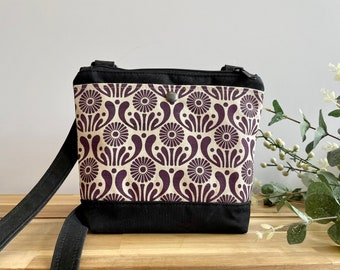 Small Waxed Canvas Purse - Dark Violet Aster Bag - Cross Body Messenger Purse - Screen Printed Bag - Water Resistant