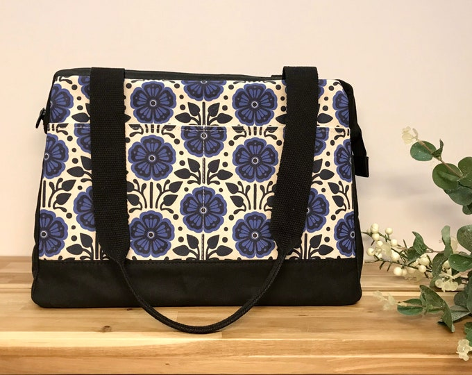 Large Waxed Canvas Project Bag - Violet Pattern - Knitting Bag - Screen Printed Bag - Crochet Bag -Sweater Project Bag
