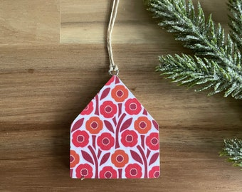 August Poppies Birth Flower Pattern Tiny House Ornaments - Christmas Ornament
