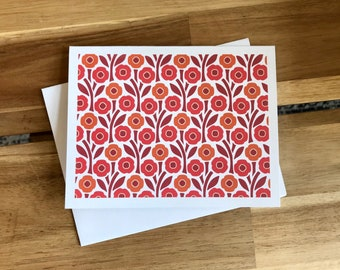 Poppy Greeting Cards - A2 - Set of 6 Blank Notecards - August Birth Month Flower Cards