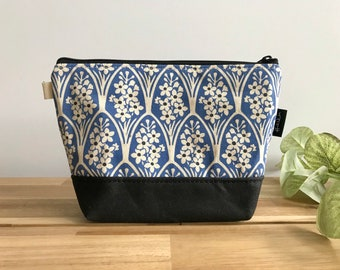 Larkspur Pattern Zipper Pouch - Waxed Canvas - Cosmetic Bag - Screen Printed - Hand Printed - July Birthday - Birth Month Flower