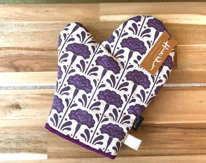 Carnation Pattern Oven Mitt - Cotton Canvas - Housewarming - Screen Printed - Hand Printed - January Birth Month Flower