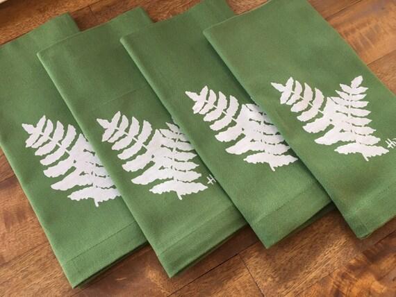 Blue Housewarming Gift Dinner Napkins with Screen Printed Birdhouse Set of 4 Cloth Napkins