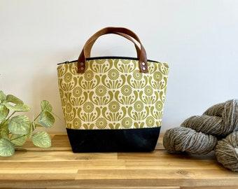 Moss Green Aster Flower Waxed Canvas Project Bag - Screen Printed - Knitting Bag - September Birth Month Flower - Yarn Bag - Crochet Bag