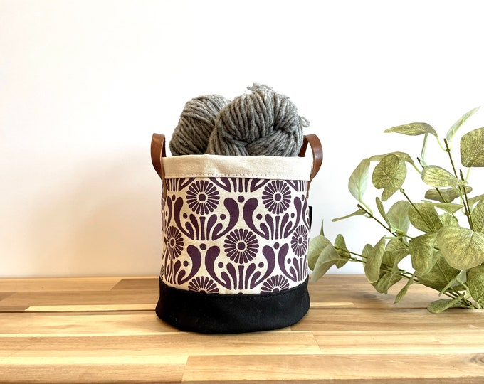 Dark Violet Aster Flower Pattern Fabric Bin - March Birth Month - Screen Printed Fabric Bucket - Gift for September - Floral