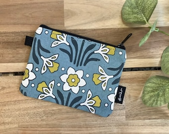 Daffodil Pattern Zipper Pouch - Zipper Wallet - Screen Printed - Credit Card Zipper Pouch