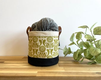 Moss Green Aster Flower Pattern Fabric Bin - March Birth Month - Screen Printed Fabric Bucket - Gift for September - Floral