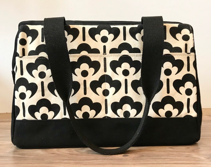 Large Waxed Canvas Project Bag - Black and White Meadow Flower - Knitting Bag - Screen Printed Bag - Crochet Bag -Sweater Project