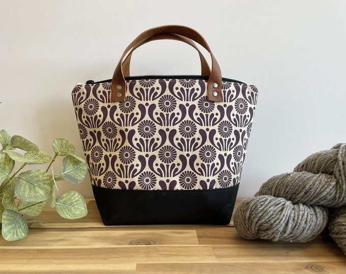 Dark Violet Aster Flower Waxed Canvas Project Bag - Screen Printed - Knitting Bag - September Birth Month Flower - Yarn Bag - Crochet Bag