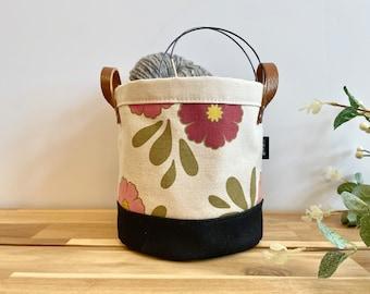 October Cosmos Fabric Bin - Screen Printed Fabric Bucket - Gift - Floral bucket
