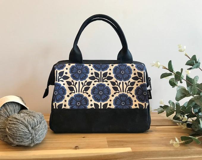 Waxed Canvas Project Bag - Violet Pattern - Knitting Bag - Screen Printed Bag - Crochet Bag - Yarn Project Bag - February