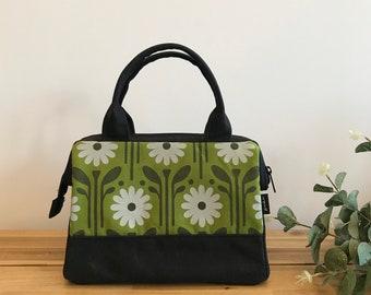 Waxed Canvas Project Bag - Green Daisy Pattern - Knitting Bag - Screen Printed Bag - Crochet Bag - Yarn Project Bag - April