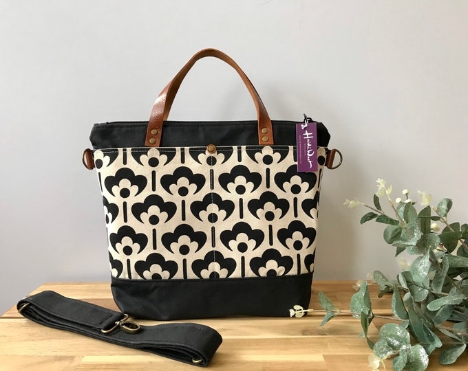 Large Waxed Canvas Purse - Black and White Meadow Flower Bag - Large Cross Body Messenger Purse - Screen Printed Bag - Water Resistant