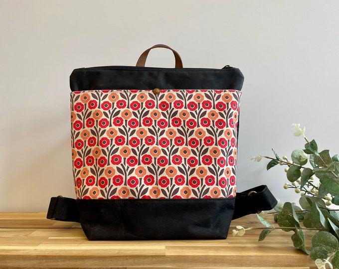 August Poppies Waxed Canvas Backpack - Canvas Bag - Backpack purse - Screen Printed - Cosmos Pattern - Water Resistant Bag - August Gift