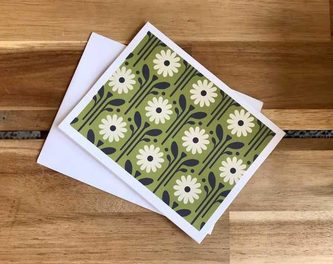 Green Daisy Greeting Cards - A2 - Set of 6 Blank Notecards - April Birth Month Flower Cards