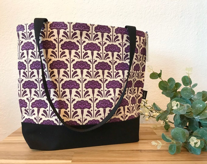 Carnation Pattern Tote Book Bag - Canvas Tote - Screen Printed Bag - January Birth Flower