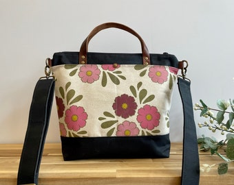 Oct Cosmos Large Waxed Canvas Purse - Floral Bag - Large Cross Body Messenger Purse - Screen Printed Bag - Water Resistant