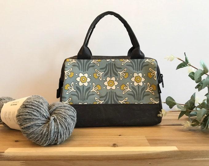 Waxed Canvas Project Bag - Daffodil Pattern - Knitting Bag - Screen Printed Bag - Crochet Bag - Yarn Project Bag - March