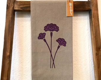 Carnation Hand Printed Tea Towel - Cotton  - Housewarming Gift - Hand Towel - Screen Printed - January Birth Month Flower