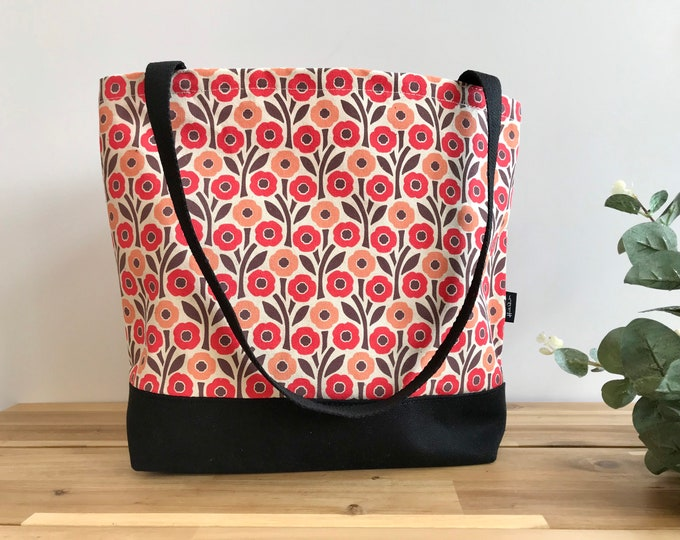 Poppy Pattern Tote Book Bag - Canvas Tote - Screen Printed Bag - August Birth Flower