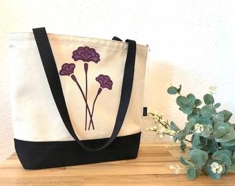 Carnation Motif Tote Book Bag - Canvas Tote - Screen Printed Bag - January Birth Flower