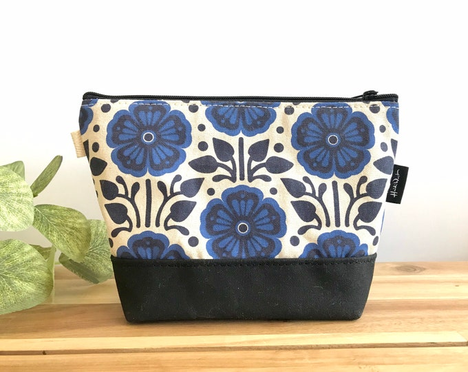 Violet Pattern Zipper Pouch - Waxed Canvas - Cosmetic Bag - Screen Printed - Hand Printed - February Birthday - Birth Month