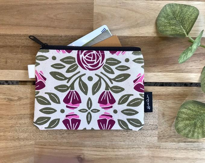 Portland Roses Zipper Pouch - Zipper Wallet - Screen Printed - Credit Card Zipper Pouch