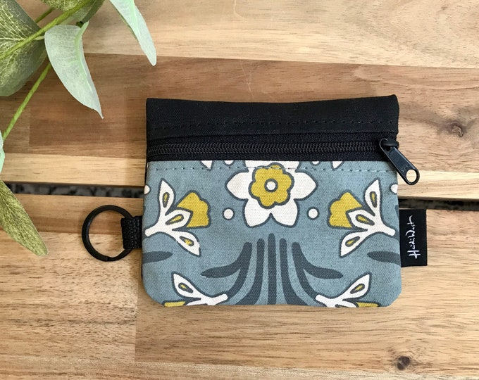 Mini Pouch - Daffodil Zipper Pouch - Zipper Wallet - Screen Printed - Earbud Pouch