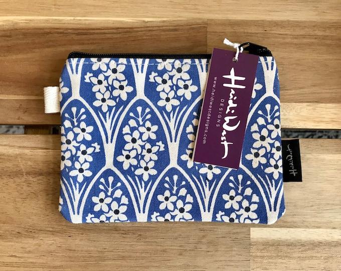 Larkspur Pattern Zipper Pouch - Zipper Wallet - Screen Printed - Credit Card Zipper Pouch - July Gift