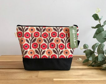 Poppy Pattern Zipper Pouch - Waxed Canvas - Cosmetic Bag - Screen Printed - Hand Printed - August Birthday - Birth Month Flower