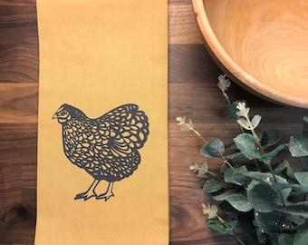 Chicken Hand Printed Tea Towel - Cotton - Gold - Housewarming Gift - Hand Towel - Farm Animal - Screen Printed