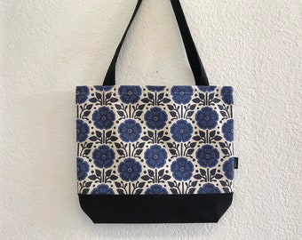 Violet Pattern Tote Book Bag - Canvas Tote - Screen Printed Bag - February Birth Flower