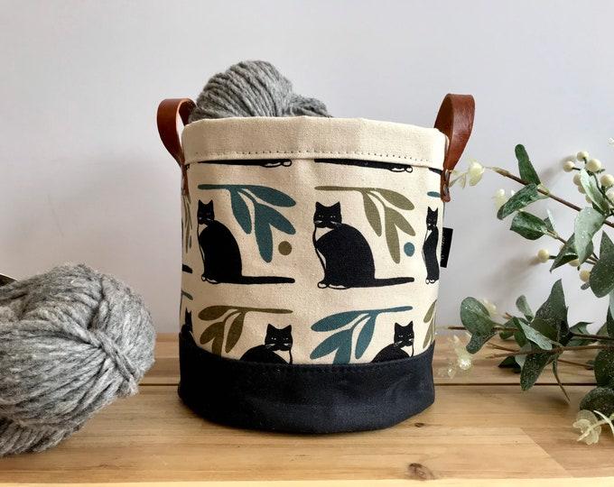 Tuxedo Cat Fabric Bin - Screen Printed Fabric Bucket - Gift - Black Cat