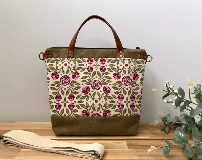Large Waxed Canvas Purse - Portland Roses Pattern Bag - Large Cross Body Messenger Purse - Screen Printed Bag - Water Resistant