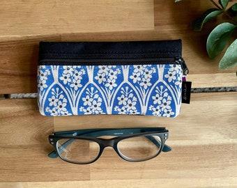 July Larkspur Pattern Eyeglass Case - Eyeglass Holder - Screen Printed - Glasses Case