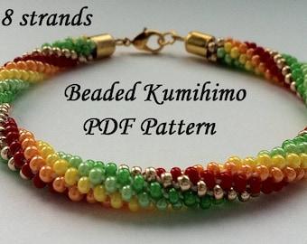 Beaded Kumihimo PDF pattern bracelet tutorial colorful spiral