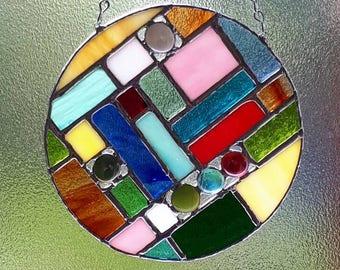 Circular Stained glass modern abstract geometric architectural suncatcher sun catcher Glass art glass pebbles