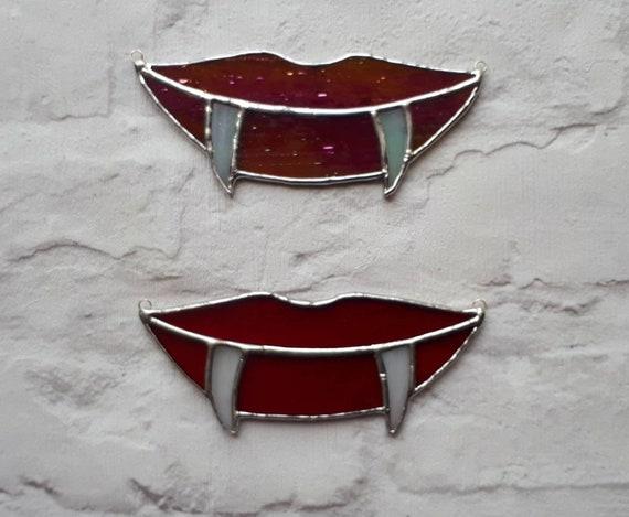 Stained glass Dracula fangs vampire teeth suncatcher Halloween decor