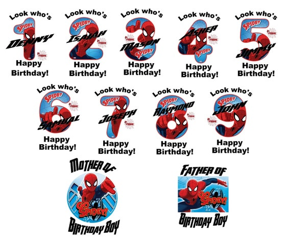 423f9f1a Spiderman Hero Birthday numbers T shirt Iron on Transfer | Etsy