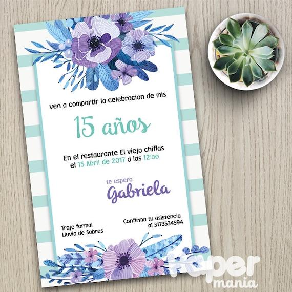 Invitación 15 Años Personalizada Archivo Digital Tarjeta 15 Años Invitación Flores Vintage