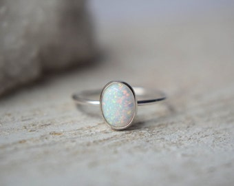 Opal Ring Stacking Ring Oval Opal Minimal Gypsy Sterling Silver Opal Ring Modern Gift Boho Natural Opal Genuine Opal Ring Simple