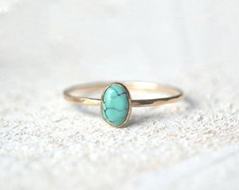 Turquoise Oval Ring- Turquoise Ring Gold- Oval Ring- 14k Oval Turquoise Ring- Turquoise Ring- 14k Solid Gold Turquoise Ring