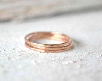 Rose Gold Stacking Rings, Stackable Rings, Stacking Rings Rose Gold, Rose Gold Band,Rose Gold Midi Ring, Skinny Rose Gold Ring