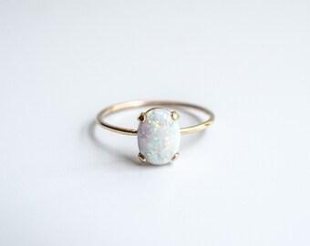 14k Opal Ring - Opal Ring Gold - Opal Engagement Ring- Solid Gold Opal Ring - Gold Opal Ring- Opal Ring - Oval Opal Ring