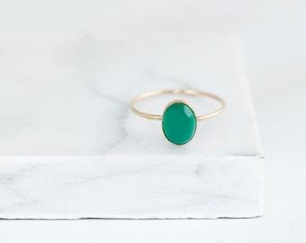 Green Onyx Ring- Green Onyx Ring Gold- Green Onyx Ring Silver- Oval Green Onyx Ring- Green Stone Ring- Stacking Ring- Dainty Ring
