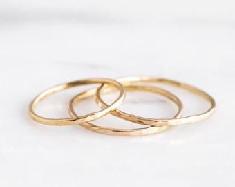Thin Stacking Rings- Stacking Rings- Stacking Ring Set- Gold Stack Ring- Hammered Stacking Ring- Stacking Ring Rose Gold-
