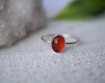 Carnelian Ring- Carnelian Ring Gold- Natural Carnelian Ring- Oval Carnelian Ring- Carnelian Ring Gold- Stacking Ring