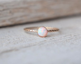 Gold Opal Ring- Opal Ring Gold, Stacking Ring, Opal Gold Ring, Stackable Ring, Dainty Opal Ring, Opal Twist Ring, Opal Rings