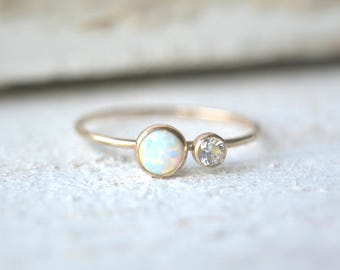 Gold Opal Ring- Dainty Opal Ring, Opal Gold Ring, Mothers Ring, Two Gemstone Ring,Opal Stacking Ring, Gemstone Stacking Ring, Opal Ring Gold